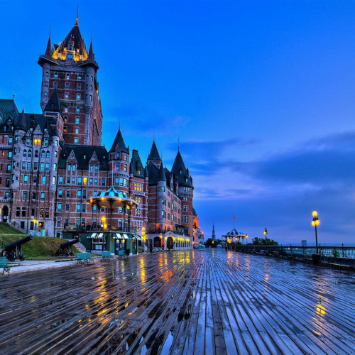 Quebec City Canada Chateau Frontenac castle benches evening iPad Wallpaper