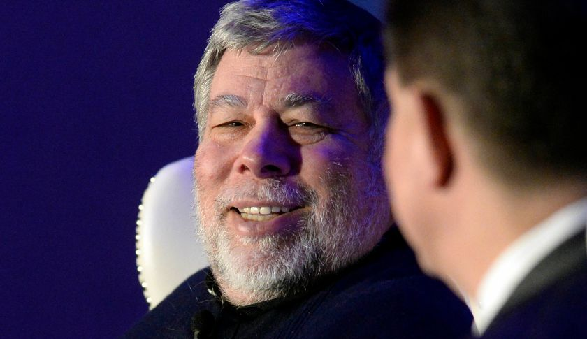 Apple co-founder Steve Wozniak, left, smiles as he answers a question from moderator Mike McGuire during the keynote luncheon of the 9th annual Southeast Venture Conference and Digital Summit Charlotte at the Le Meridien Charlotte on Wednesday, April 1, 2015, in Charlotte, N.C. (David T. Foster, III/Charlotte Observer/TNS via Getty Images)